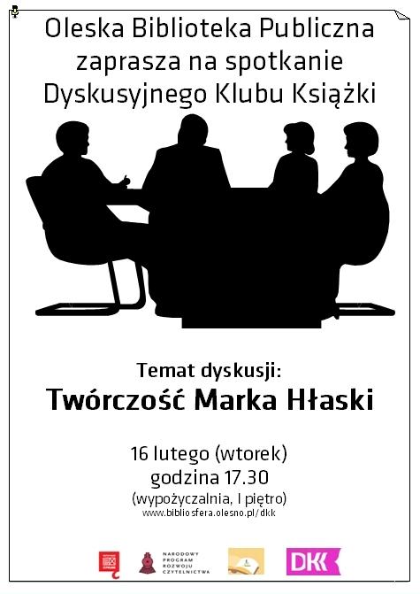 Oleska Biblioteka Publiczna zaprasza na spotkanie Dyskusyjnego Klubu Książki Temat dyskusji: Twórczość Marka Hłaski 16 lutego (wtorek) godzina 17.30